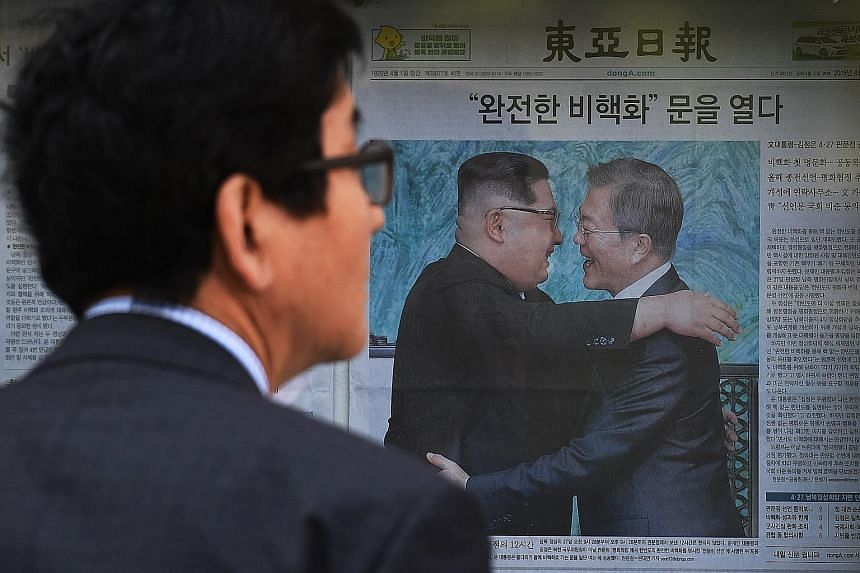 The meeting between South Korean President Moon Jae In and North Korean leader Kim Jong Un was front-page news in the South yesterday.