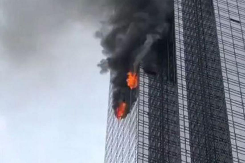 A photo said to be of the burning building posted to social media.