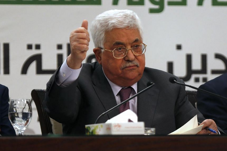 Palestinian president Mahmud Abbas gestures as he speaks during a press conference on Jerusalem, in the West Bank city of Ramallah on April 11, 2018.