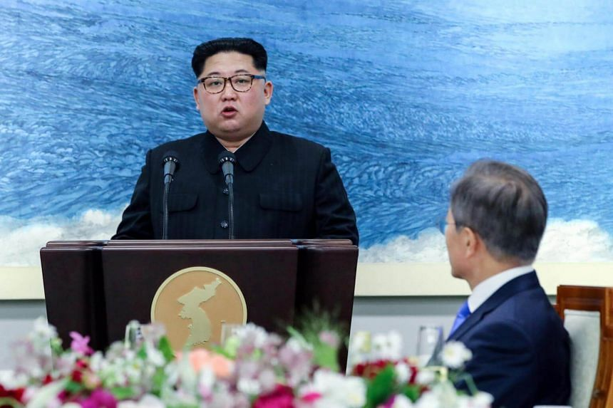North Korean leader Kim Jong Un speaking at the truce village of Panmunjom inside the demilitarised zone separating the two Koreas on April 27, 2018.
