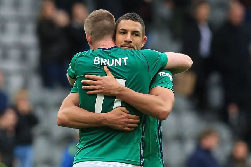 West Bromwich Albion's Chris Brunt and Jake Livermore celebrate after the match.