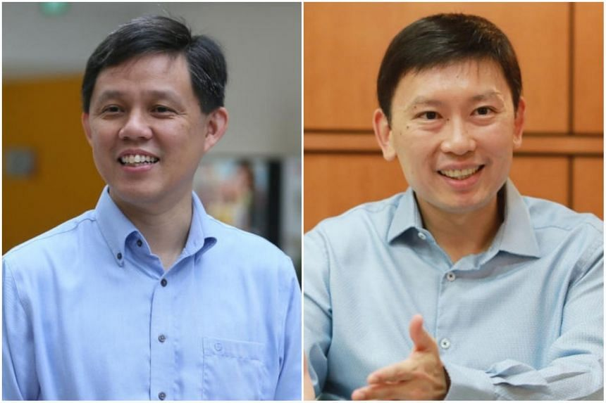 Mr Chan Chun Sing (left) will take over the Ministry of Trade and Industry (MTI), and Mr Chee Hong Tat has been appointed Senior Minister of State at MTI.