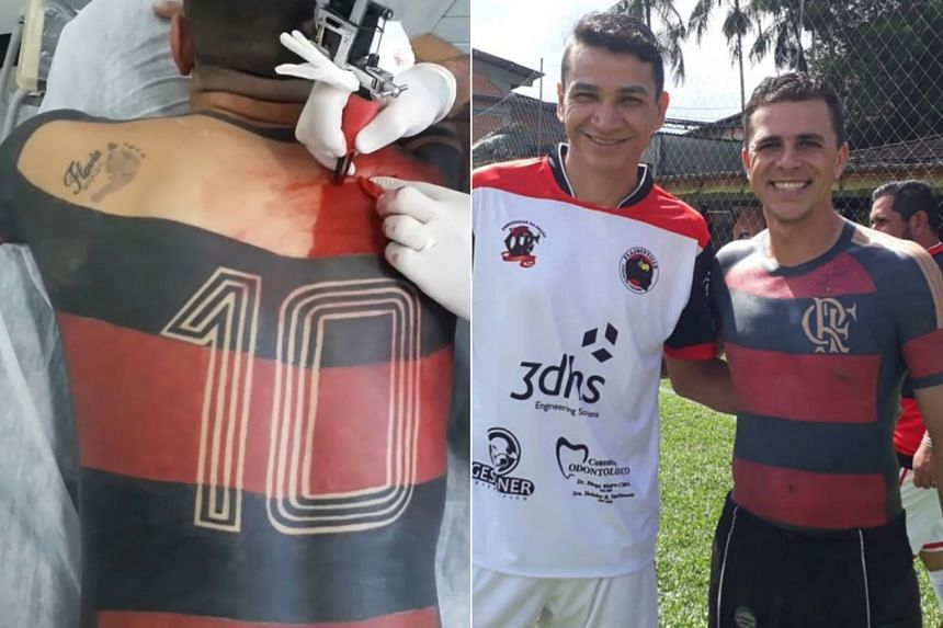 3863d8d1736 Brazilian man tattoos his favourite football team s jersey on his front and  back torso