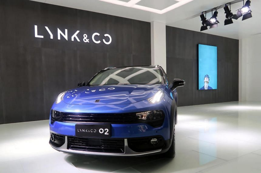 A Lynk & Co 02 sports utility vehicle is seen at the company's plant in Zhangjiakou, Hebei province, on April 26, 2018.