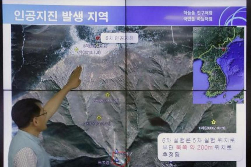 Korea Meteorological Administration official Yoo Yong Kyu pointing out the location of an artificial earthquake that was detected at Punggye-ri on Sept 3, 2017.