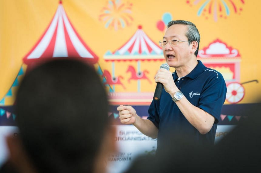 Minister of State for Manpower Sam Tan speaking during the Foreign Workers' Carnival on April 29, 2018.