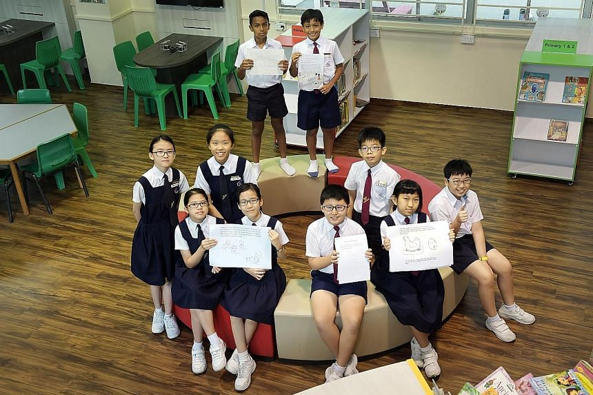 Ten of the 12 Teck Whye pupils who are coming up with three children's books related to Chinatown - (first row, from lef) Hariette Palma, Teng Kaixin, Lv Jingyan, Zhang Huixin and Callum Mok, (middle row, from left) Cheng Zhi Xin, Goh Si Rui and Sia
