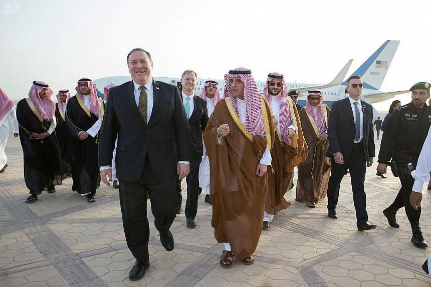 US Secretary of State Mike Pompeo is welcomed by Saudi Arabian Foreign Minister Adel al-Jubeir upon his arrival in Riyadh on Saturday. Mr Pompeo's visit to the Middle East covers Riyadh, Amman and Jerusalem.