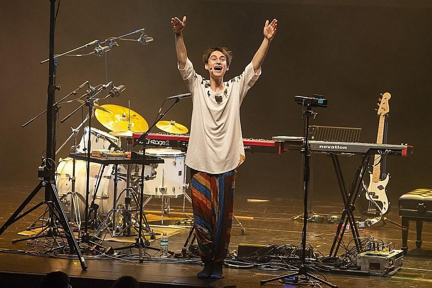 Jacob Collier's display of music-geek theatrics, enhanced by interactive and kaleidoscopic videos on the large screen backdrop, was highly entertaining.