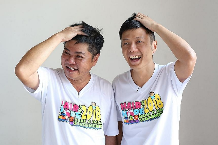 Property agent Toh Yi Qin (right) and his cousin Chua Ching Chong, before and after shaving their heads at Hair for Hope yesterday.