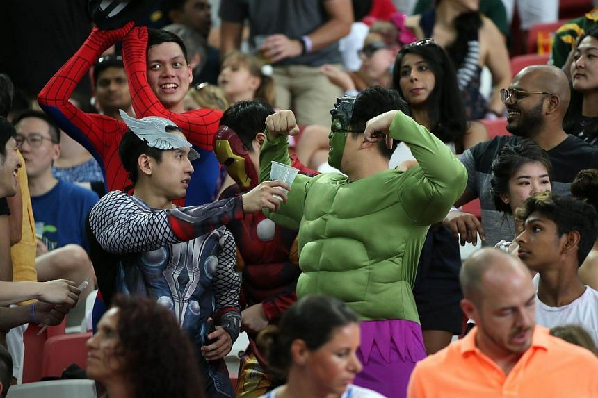 Spectators on the final day of the Singapore leg of the HSBC World Rugby Sevens Series at National Stadium, on April 29, 2018.
