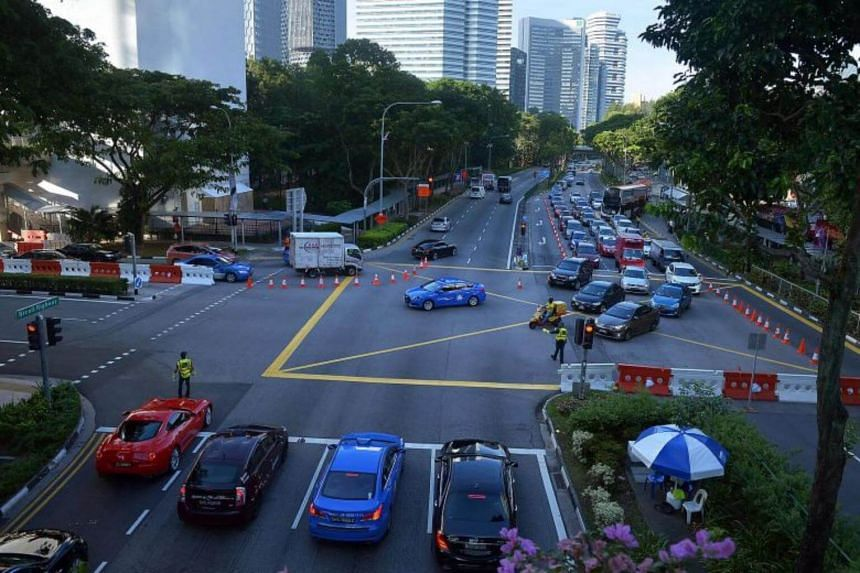 File photo showing traffic at the junction of Nicoll Highway and Middle Road.