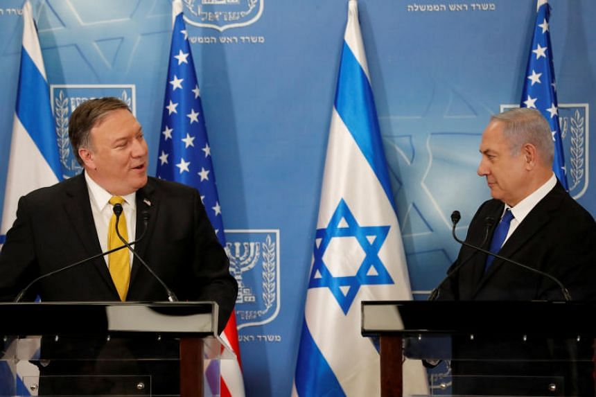 Israeli Prime Minister Benjamin Netanyahu (right) meets US Secretary of State Mike Pompeo at the Ministry of Defence in Tel Aviv, Israel, on April 29, 2018.