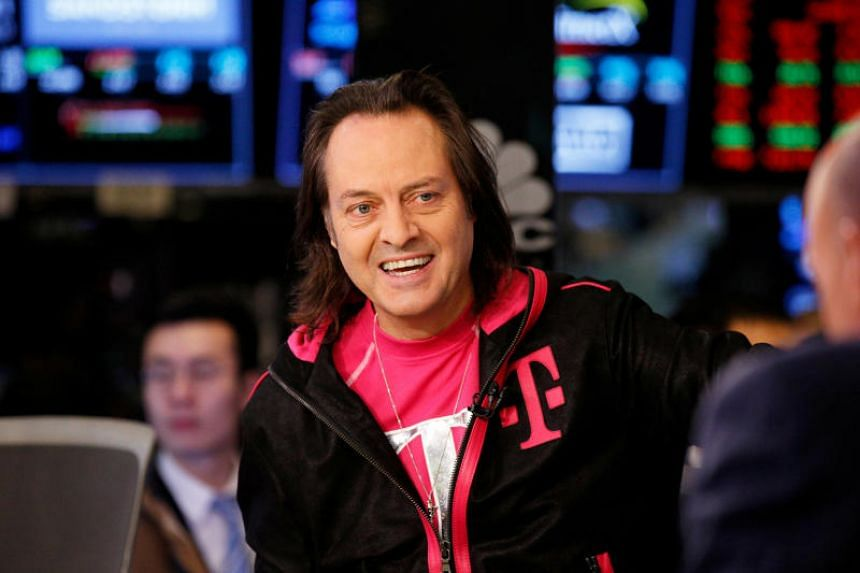 T-Mobile CEO John Legere prepares for an interview on the floor of the New York Stock Exchange in New York, US on Feb 8, 2018.