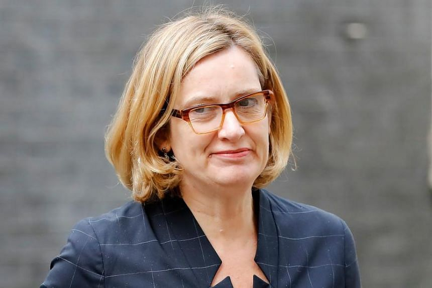 Britain's Home Secretary Amber Rudd arriving at 10 Downing Street in central London on April 25, 2018.