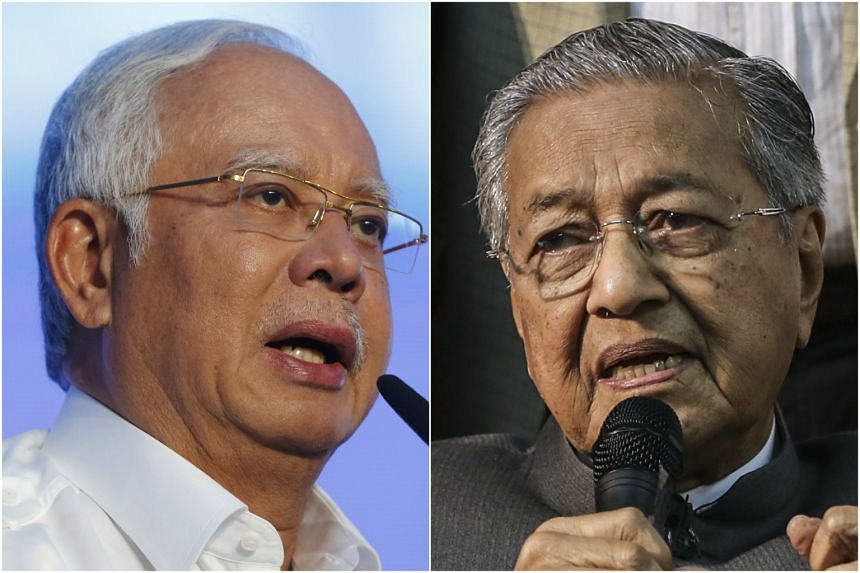 Malaysian Prime Minister Najib Razak (left) criticised remarks made by opposition leader Mahathir Mohamad at a campaign event in Langkawi.