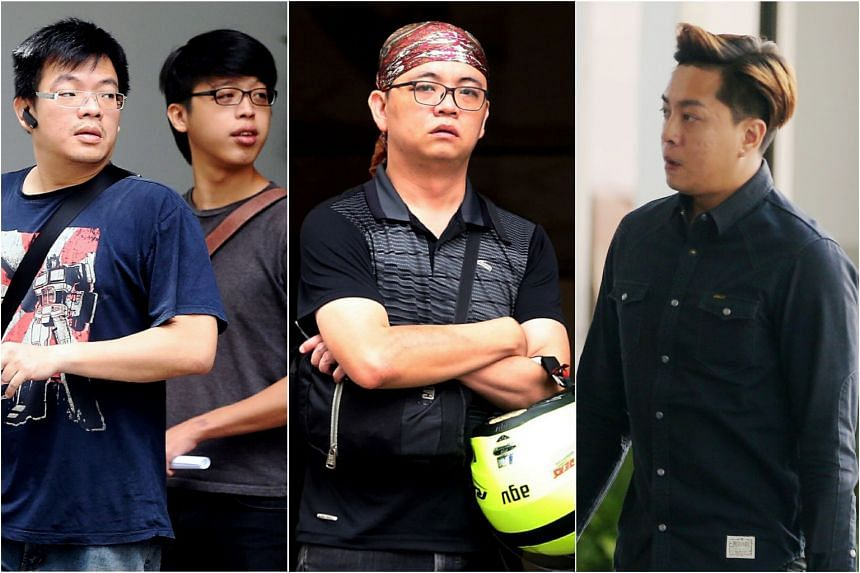 From left: Thomas Leong Sin Kwang, Tay Woei Chain, Ng Yeow Tim and Tan Wee How were sentenced to jail for attacking Argentinian Roman Barros Griffiths (not pictured).