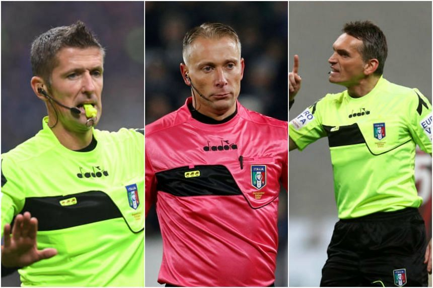 (From left) Daniele Orsato, Paolo Valeri and Massimiliano Irrati of Italy, three of the 13 men named as World Cup video assistant referees.