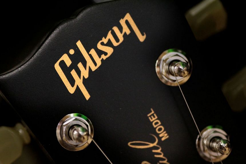 The Gibson logo is seen on a Les Paul guitar at a music store in Singapore, April 3, 2018.
