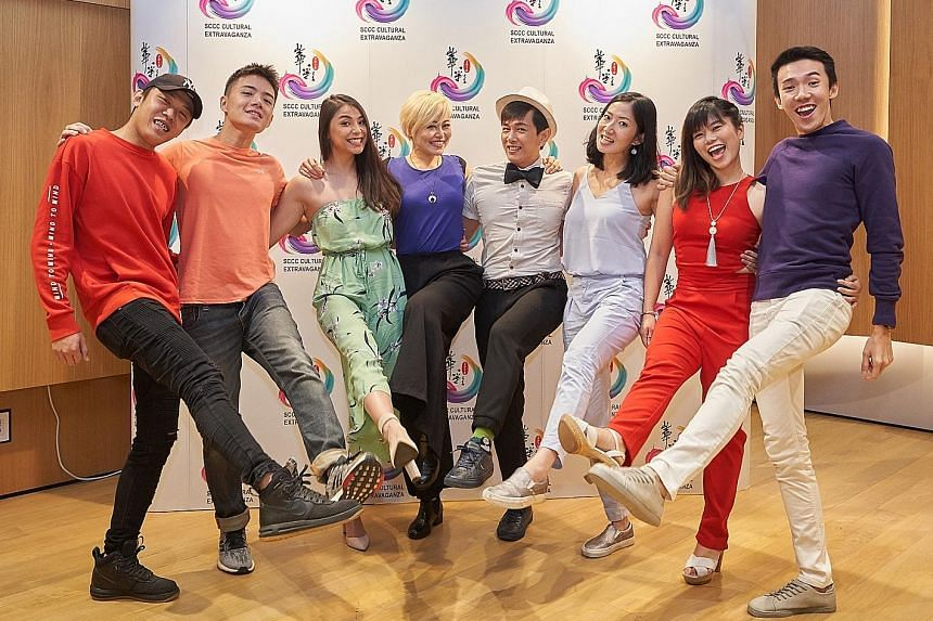 The cast of Toy Factory's Masters Of Comedy includes (from left) Wang Weiliang, Soki Wu, Shu Yi Ching, Judee Tan, Sugie Phua, Jo Tan, Vanessa Phang and Lim Jun Jey.