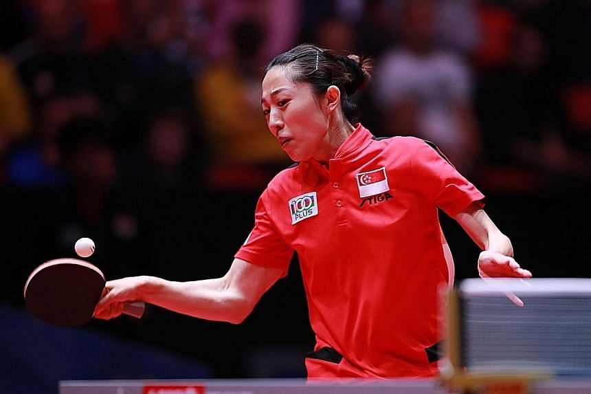 Singapore's Yu Mengyu in action in the win over hosts Sweden at the World Team Table Tennis Championships in Halmstad on Sunday. Yesterday, she defeated the Republic's Commonwealth Games nemesis, Manika Batra, as Singapore beat India 3-0.