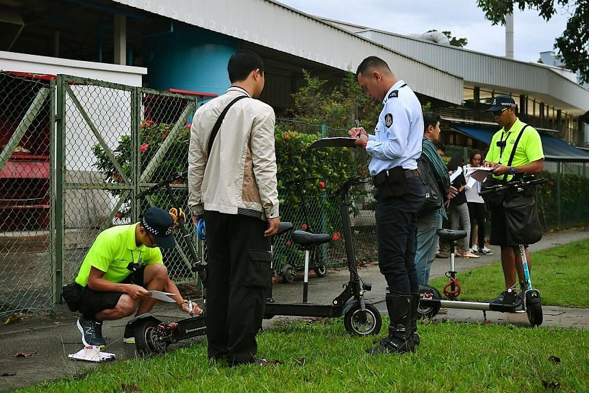 The Land Transport Authority conducting an enforcement operation along Loyang Drive earlier this year.