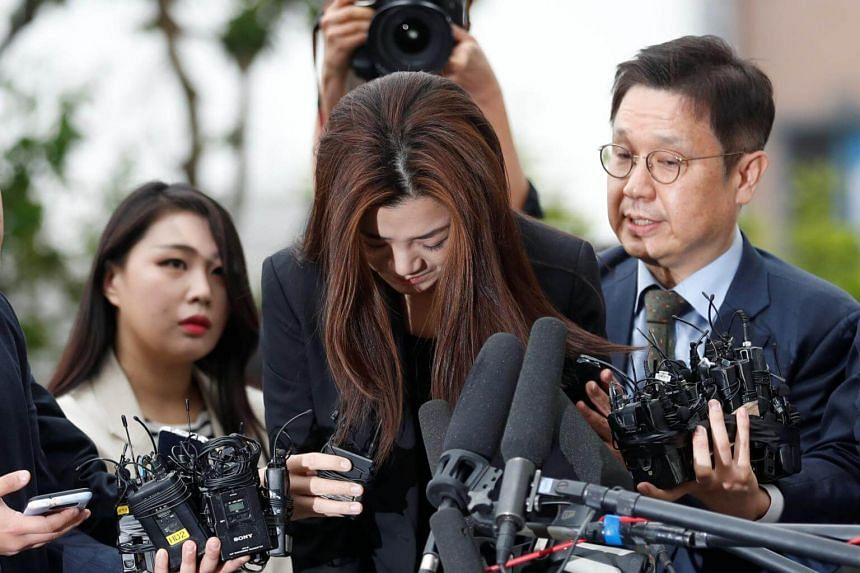 Former Korean Air senior executive Cho Hyun Min, dressed in a black suit, repeated her tearful apology several times without making any further comment.