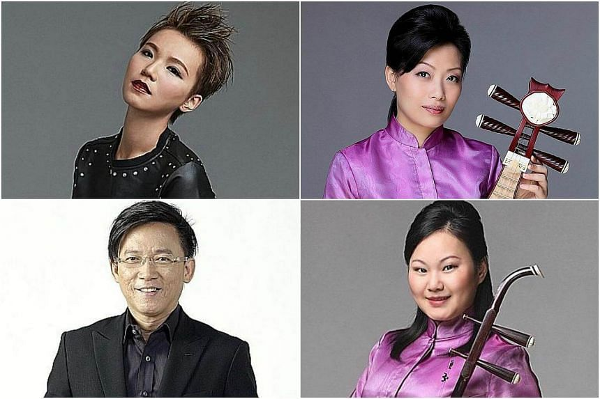 (Clockwise from top left) Singer-songwriter Ling Kai (above), Liuqin musician Zhang Li, erhu player She Ling and Singapore Chinese Orchestra's resident conductor Quek Ling Kiong.