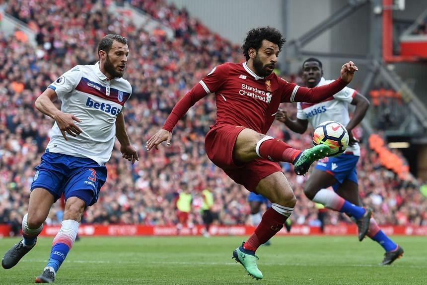 Egyptian midfielder Mohamed Salah controlling the ball during Liverpool's English Premier League football match against Stoke City at Anfield on April 28, 2018. The game ended 0-0.