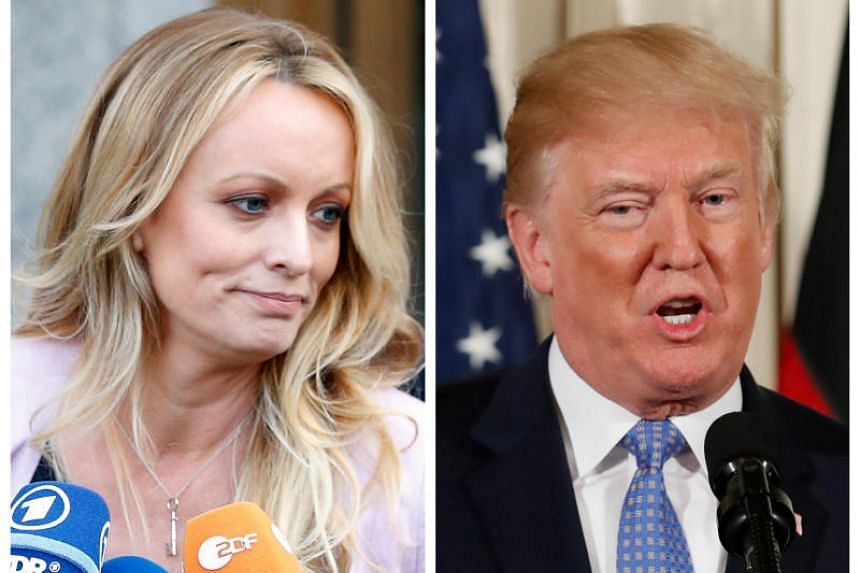 Adult film actress Stephanie Clifford, also known as Stormy Daniels, speaking in New York City on April 16, 2018, and US President Donald Trump speaking in Washington, Michigan, US on April 28, 2018.