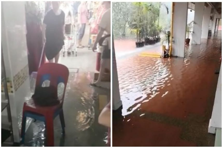 Those affected by the flood included stallholders at the Block 448 Clementi Market and Food Centre in Clementi Avenue 3 (left).