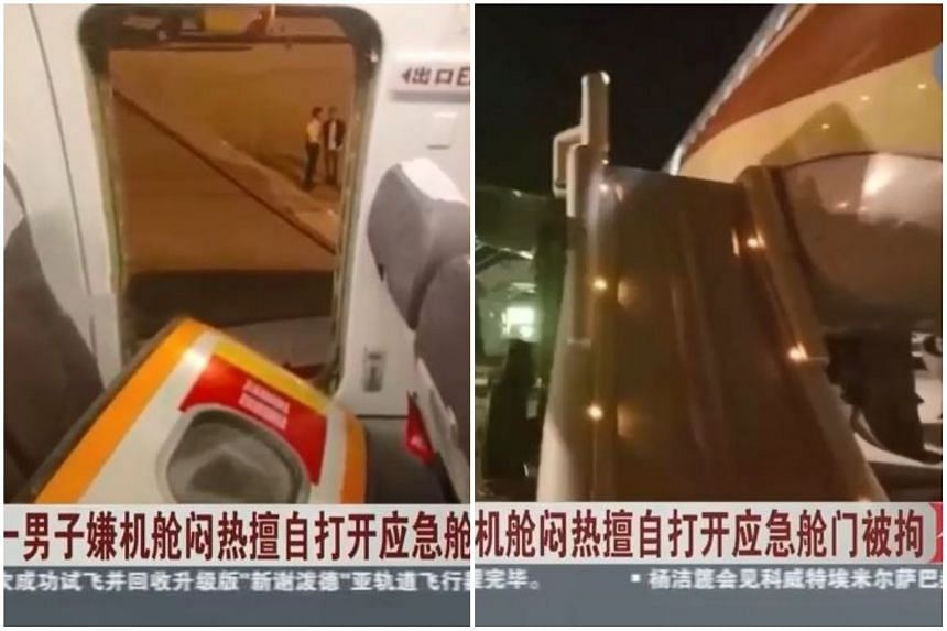 The man had opened the emergency exit door while waiting to disembark, causing the escape slide to be deployed.