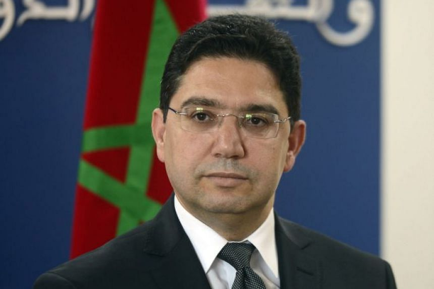 Moroccan Foreign Minister Nasser Bourita visiting the Netherlands on April 20, 2018.