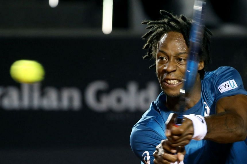 Monfils in action durng the Rio Open in February 2018.