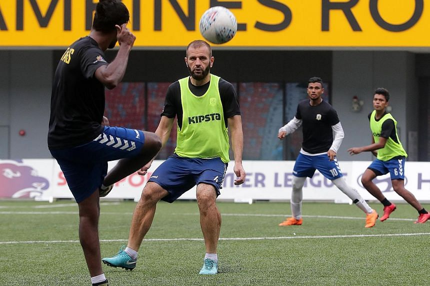 Tampines Rovers' tireless captain Fahrudin Mustafic in training, with Fazrul Nawaz (No. 10) and Safirul Sulaiman behind him. The team played three games in seven days but are now rested after a week's break.