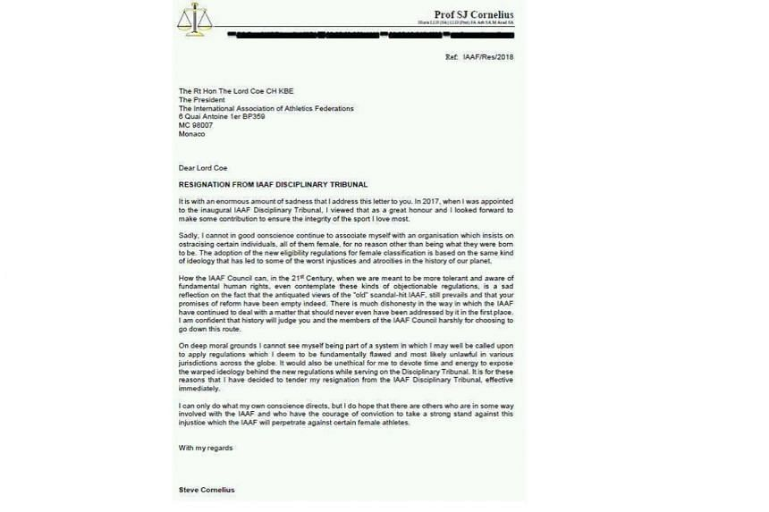 The letter was published on Twitter on May 1, 2018, by sports lawyer Gregory Ioannidis, who described himself as a colleague of Cornelius.