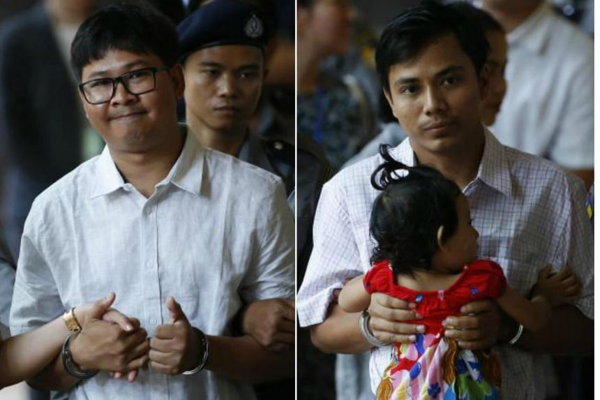 Deputy Police Major Moe Yan Naing said a superior ordered his men to set up the sting which resulted in sensitive documents being passed to reporters Wa Lone (left) and Kyaw Soe Oo (right).