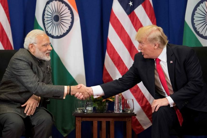 US President Donald Trump meeting Indian Prime Minister Narendra Modi at a bilateral meeting on the sidelines of the 31st Asean Summit in Manila on Nov 13, 2017.