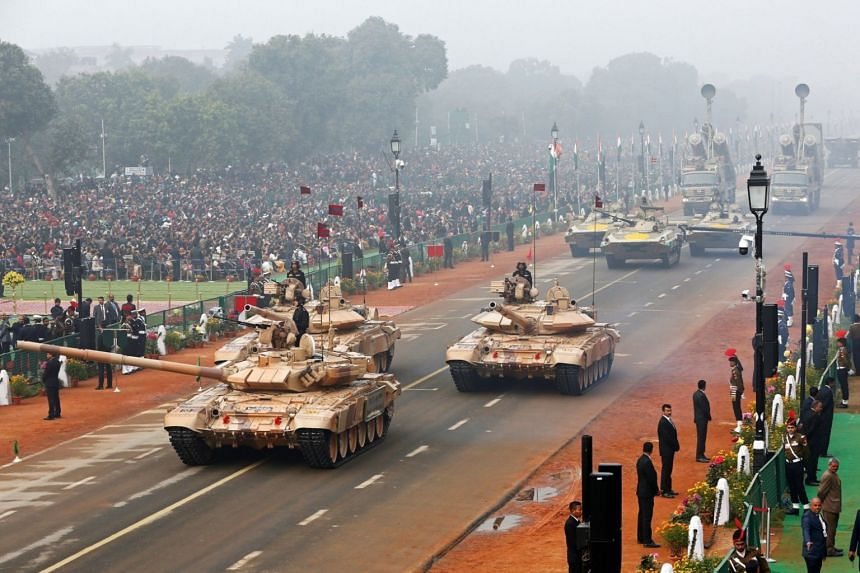 Indian Army combat vehicles are displayed during a parade in New Delhi on Jan 26, 2018.