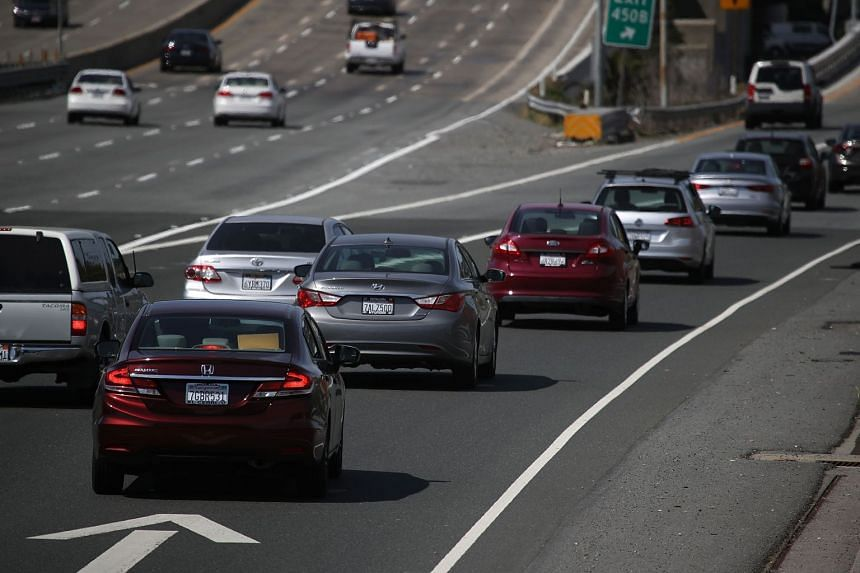 Traffic seen on a highway on May 1, 2018, in Larkspur, California.