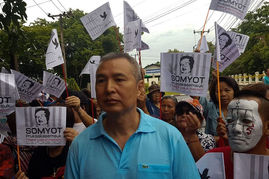 Somyot Pruksakasemsuk was discharged from a Bangkok prison after serving six years on a lese majeste charge - the longest term ever served.