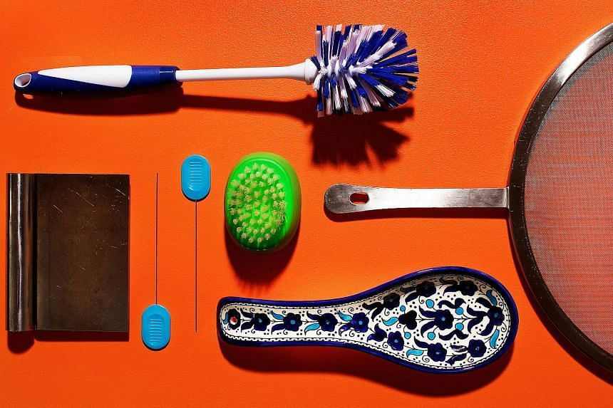 Clockwise from top left: Brushes, splatter screen, spoon rest, cake tester and bench scraper.