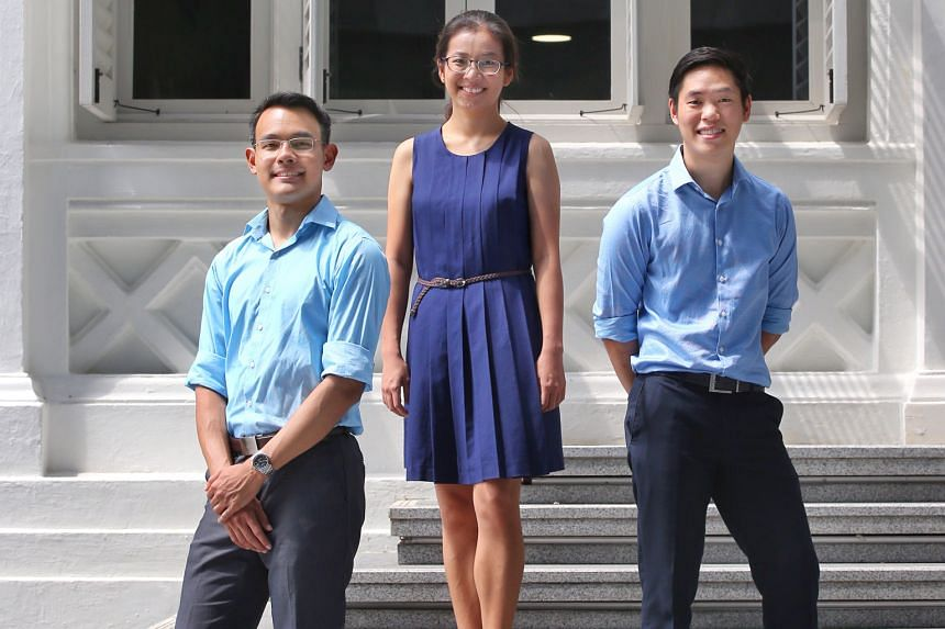 (From left) Dr Stewart Retnam, Dr Ang Jia Wei and Dr Kiang Wen Wei are among the Lee Kong Chian School of Medicine's first cohort of medical students, who were selected from more than 800 applicants.