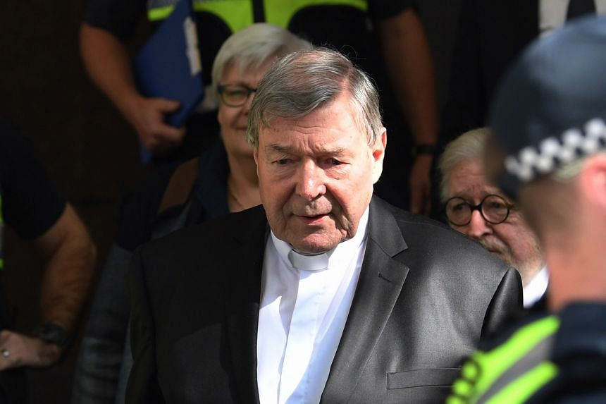 Australia's most senior Catholic, Cardinal George Pell, leaving Melbourne Magistrates Court yesterday after being ordered to stand trial on multiple sexual assault claims.