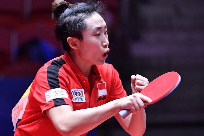 Feng Tianwei of Singapore playing Tetyana Bilenko of the Ukraine in their Round of 16 match at the World Team Table Tennis Championships 2018 at Halmstad Arena in Halmstad on May 2, 2018.