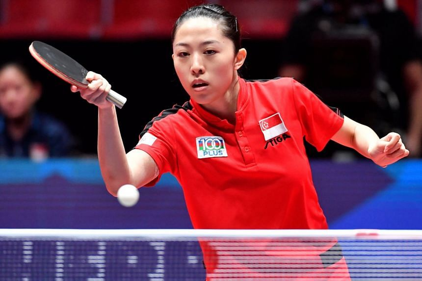 Yu Mengyu of Singapore, who was carrying an injury from last month's Commonwealth Games, lost both her matches against Ukraine in the round of 16 in the World Team Table Tennis Championships at the Halmstad Arena in Sweden.