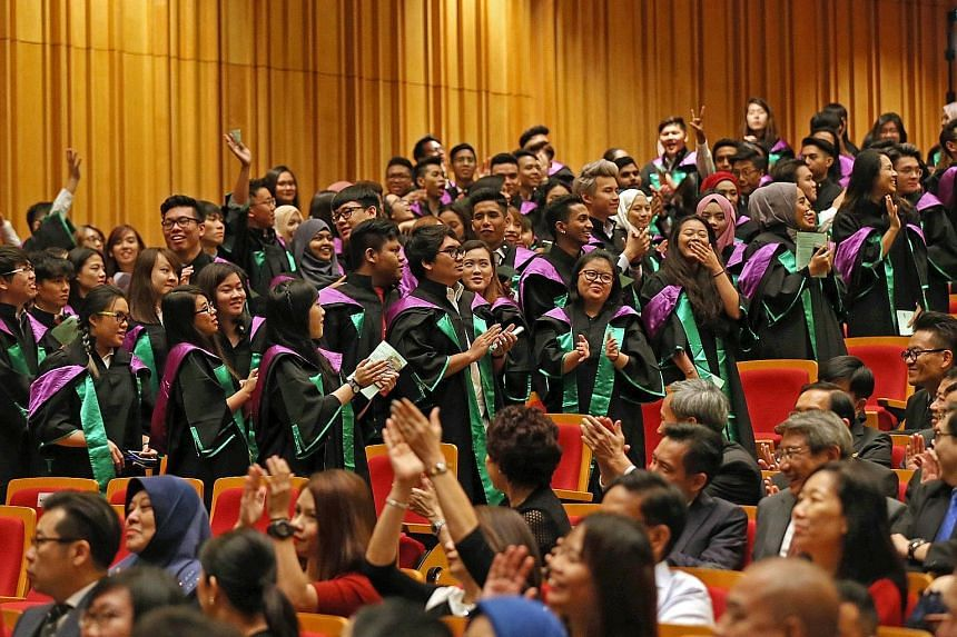 At Republic Polytechnic's 13th graduation ceremony yesterday (main photo), valedictorian Nur Nazurah Abdul Rahim (above) encouraged her peers to pursue their passions tirelessly.