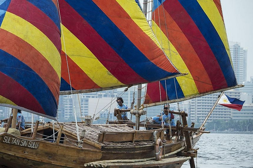 The boats, replicas of a balangay, a type of vessel used in the region as far back as 320 AD, left Manila on Saturday. Sultan Paduka Batara sailed to China on a balangay in 1417 to pay tribute and to trade.