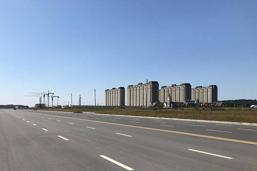 The Downing One residential project is seen in the Dandong New Zone, in Dandong, Liaoning province.