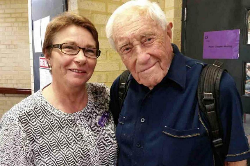 David Goodall with Carol O'Neill of Exit International, which advocates for voluntary euthanasia, in Perth, on April 30, 2018.